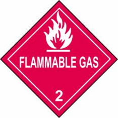 Flammable Gas 2 D.O.T. Label