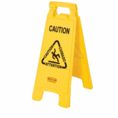 "Floor Safety Sign with Multi-Lingual ""Caution"" Imprint, 2-sided  26 x 11 x 12"
