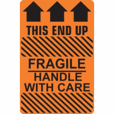 Fragile, Handle With Care, This End Up, with three arrows  3 x 5