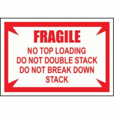 Fragile, No Top Load 3 1/2 x 5 1/2  500 Pack