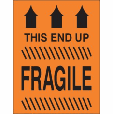 Fragile, This End Up, with three arrows  3 x 5