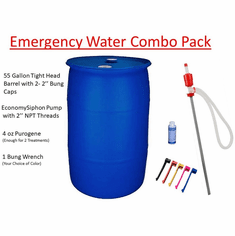 Free Shipping Emergency Water Storage Combo Pack: Barrel, Siphon, Wrench, Purogene