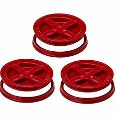 "Gamma Seal Lid 5 Gallon Red - 3 Pack <br><font color=""#008000""><font size = 2>$5.59 Each</font color></font>"