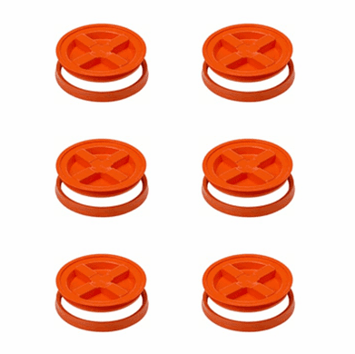"Gamma Seal Lids 5 Gallon Orange - 6 Pack <br><font color=""#008000""><font size = 2>$5.49 Each</font color></font>"