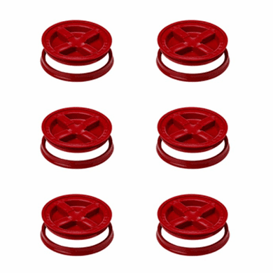 "Gamma Seal Lids 5 Gallon Red  - 6 Pack <br><font color=""#008000""><font size = 2>$5.49 Each</font color></font>"