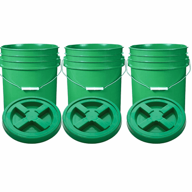 "Green 5 Gal Gallon Plastic Buckets and Gamma Seal Lids  Food Grade Combo 3 Pack <Font color=""red""> Special Combo Free Shipping</font>"