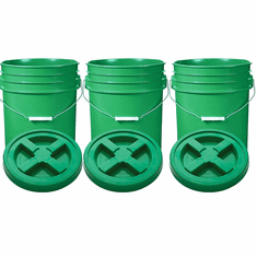"""Green 5 Gal Gallon Plastic Buckets and Gamma Seal Lids  Food Grade Combo 3 Pack <Font color=""""red""""> Special Combo Free Shipping</font>"""