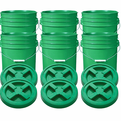 "Green 5 Gallon Plastic Buckets and Gamma Seal Lids  Food Grade Combo 6 Pack <Font color=""red""> Special Combo Free Shipping</font>"
