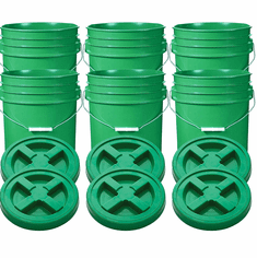 """Green 5 Gallon Plastic Buckets and Gamma Seal Lids  Food Grade Combo 6 Pack <Font color=""""red""""> Special Combo Free Shipping</font>"""