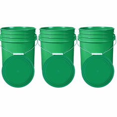 """Green 5 Gallon Buckets and Flat Lids  Food Grade Combo 3 Pack <Font color=""""red""""> Special Combo Free Shipping</font>"""