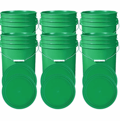 """Green 5 Gallon Buckets and Flat Lids  Food Grade Combo 6 Pack <Font color=""""red""""> Special Combo Free Shipping</font>"""