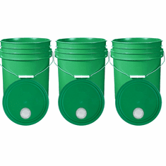 """Green 5 Gallon Buckets and Spout Lids  Food Grade Combo 3 Pack <Font color=""""red""""> Special Combo Free Shipping</font>"""