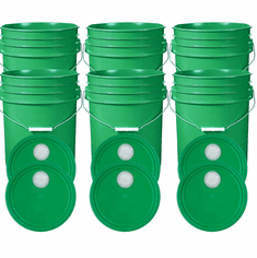 """Green 5 Gallon Buckets and Spout Lids  Food Grade Combo 6 Pack <Font color=""""red""""> Special Combo Free Shipping</font>"""