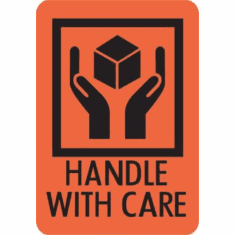 Handle with Care Caution Label  2 x 3