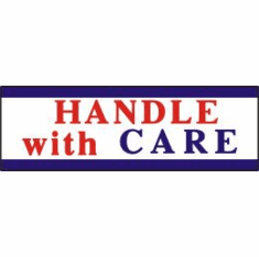 Handle with Care, mailing label