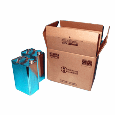 Hazmat 4G Packaging F-style Shipper with Cans 2-1 Gallon