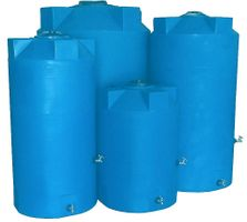 Heavy Weight Emergency Water Storage Tanks Poly-Mart® With Manway Cover, 2-Outlet Bulkheads & Brass Hardware,  , Color;Light Blue