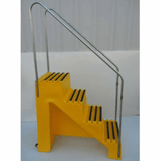 Industrial Portable Steps 4-step unit w/handrails and casters