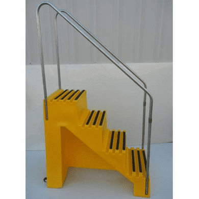 Industrial Portable Steps 4 Step Unit W Handrails And Casters