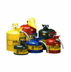 Justrite Type I Polyethylene Safety Can  2 1/2 gallon  Red, Stainless steel Fittings