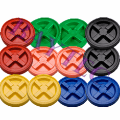 "Multiple Colored Gamma Seal Lids Case of 12<br><font color=""#008000""><font size = 2>$5.95 Each</font color></font>"