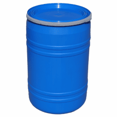 New 30 Gal Plastic Drum Open Top, Flat Lid, Blue