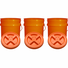 "Orange 5 Gallon Plastic  Buckets and Gamma Seal Lids  Food Grade Combo 3 Pack <Font color=""red""> Special Combo Free Shipping</font>"