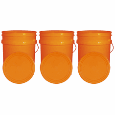 """Orange 5 Gallon Buckets and Flat Lids  Food Grade Combo 3 Pack <Font color=""""red""""> Special Combo Free Shipping</font>"""