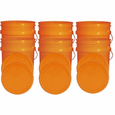 """Orange 5 Gallon Buckets and Flat Lids  Food Grade Combo 6 Pack <Font color=""""red""""> Special Combo Free Shipping</font>"""