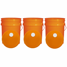 """Orange 5 Gallon Buckets and Spout Lids  Food Grade Combo 3 Pack <Font color=""""red""""> Special Combo Free Shipping</font>"""