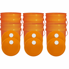 """Orange 5 Gallon Buckets and Spout Lids  Food Grade Combo 6 Pack <Font color=""""red""""> Special Combo Free Shipping</font>"""