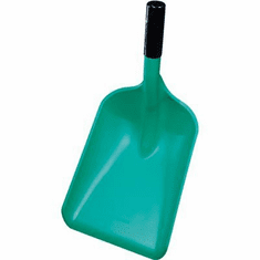 "Pan Shovel, Polypropylene Safety Pan Shovel (Med Blade, End Cap)<br> 10.5 x 14 x 20.9, Short 8"" Handle"
