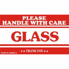 Please Handle With Care, Glass, Thank You 3 x 5  500 Pack