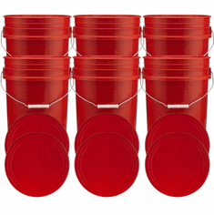"""Rec 5 Gallon Buckets and Flat Lids  Food Grade Combo 6 Pack <Font color=""""red""""> Special Combo Free Shipping</font>"""
