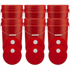 """Rec 5 Gallon Buckets and Spout Lids  Food Grade Combo 6 Pack <Font color=""""red""""> Special Combo Free Shipping</font>"""