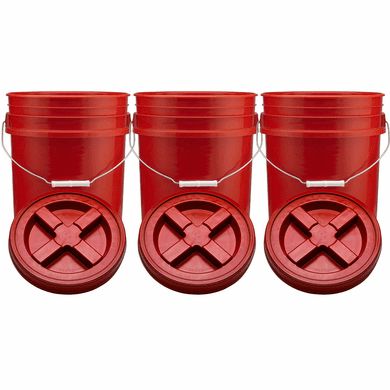 "Red 5 Gallon Plastic Buckets and Gamma Seal Lids  Food Grade Combo 3 Pack<br /><Font color=""red""> Special Combo Free Shipping</font>"