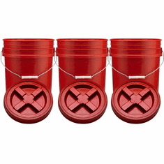 "Red 5 Gallon Plastic Buckets and Gamma Seal Lids  Food Grade Combo 3 Pack <Font color=""red""> Special Combo Free Shipping</font>"