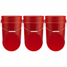 """Red 5 Gallon Buckets and Flat Lids  Food Grade Combo 3 Pack <Font color=""""red""""> Special Combo Free Shipping</font>"""