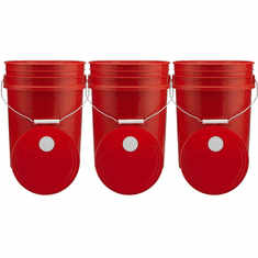 """Red 5 Gallon Buckets and Spout Lids  Food Grade Combo 3 Pack <Font color=""""red""""> Special Combo Free Shipping</font>"""