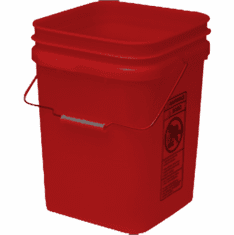 "Red Economy Square 4 Gallon Plastic Bucket, 18 Pack<br><font color=""#FF0000"">Free Shipping</font>"