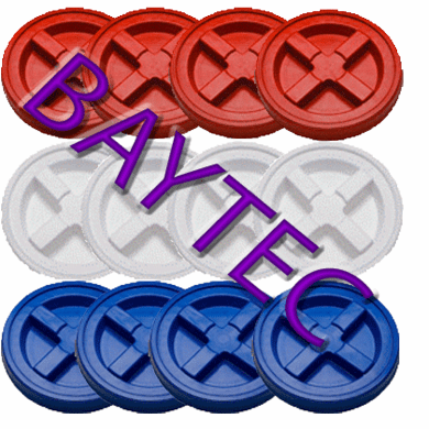 "Red, White & Blue Gamma Seal Lids Combo Case of 12<br><font color=""#008000""><font size = 2>$5.39 Each</font color></font>"