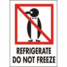Refrigerate Do Not Freeze International Label 3 x 4 500 Lables per Roll