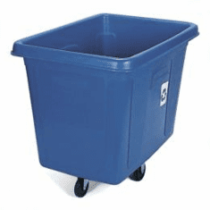 Rubbermaid Mobile Collection Recycling Container Cube Truck, Blue 16 cu ft
