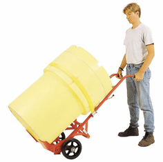 Self-Standing Two Handle Drum Truck, Moldon Rubber Wheel | spring loaded, floating axle.