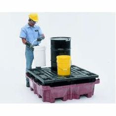 SpillKing Spill Containment System Flat Deck Pallet  51 x 51 x 17 1/2  With Drain Plug