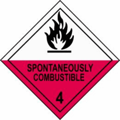 Spontaneously Combustible 4 D.O.T. Label