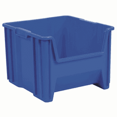 "Stak-N-Store Container Bin -2 PACK- Blue-LARGE<br>OD: 12-1/2""H x 17-1/2""L x 16-1/2""W"