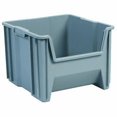 "Stak-N-Store Container Bins -2 PACK-Gray-LARGE<br>OD: 12-1/2""H x 17-1/2""L x 16-1/2""W"
