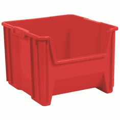 "Stak-N-Store Container Bins-2 PACK- Red-LARGE<br>OD: 12-1/2""H x 17-1/2""L x 16-1/2""W"