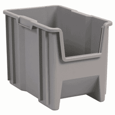 "Stak-N-Store Containers-4PK-Gray-SMALL<br>OD:12-1/2""H x 17-1/2""L x 10-7/8""W"